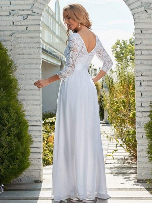 White Simple Wedding Gowns Lace Jewel Neck Lace Chiffon Half Sleeves Natural Waist A-Line Bridal Gowns_4