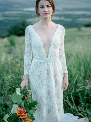 Wedding Gowns With Train A-Line Long Sleeves V-Neck Ivory Lace Bridal Gowns_4