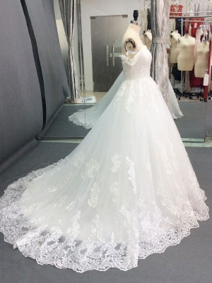 Wedding Dresses 2021 Off The Shoulder Ball Gown Short Sleeve Natural Waist Bridal Gowns With Train_3