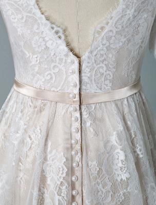 Cheap Wedding Dress 2021 V Neck A Line Short Sleeve Deep V Backless Lace Wedding Gowns_8