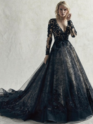 Black Wedding Dresses Lace Princess Silhouette Long Sleeves Natural Waist Lace Court Train Bridal Gown_1