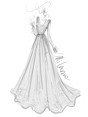 Cheap Wedding Dress A Line V Neck Long Sleeves Lace Floor Length Wedding Gowns_4