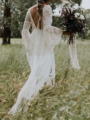 Boho Bridal Dresses 2021 A Line Deep V Neck Multilayer Lace Chiffon Beach Party Dress Wedding Gowns_2