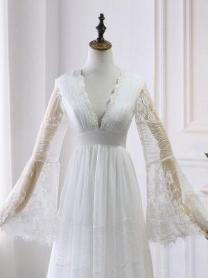 Boho Bridal Dresses 2021 A Line Deep V Neck Multilayer Lace Chiffon Beach Party Dress Wedding Gowns_5