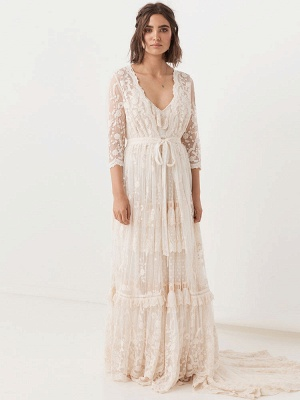 Boho Wedding Dresses Suit 2021 V Neck Floor Length Lace Multilayer Bridal Gown Dress And Outfit_5