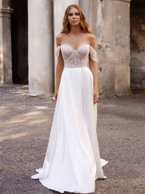 White Cheap Wedding Dresses Satin Fabric Strapless Sleeveless Cut Out A-Line Off The Shoulder Long Bridal Gowns_1