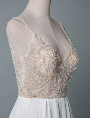 Simple Wedding Gowns A Line V Neck Sleeveless Embroidered Chiffon Bridal Gowns With Train_5