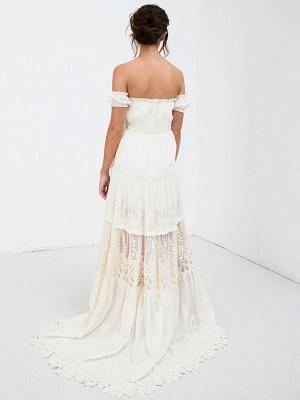 Boho Wedding Dress 2021 Lace Off The Shoulder A Line Floor Length Lace Bridal Gown_10