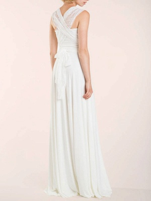 Simple Wedding Gowns Sheath V Neck Sleeveless Pleated Floor Length With Train Lace Wedding Dresseses_7