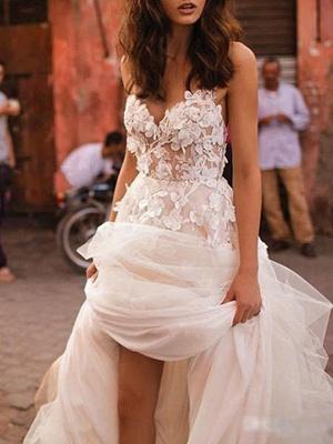 Wedding Dresses 2021 A Line Sleeveless Floor Length Beaded Sweetheart Neck Bridal Gowns_1