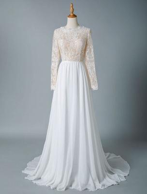 Boho Bridal Dresses 2021 Jewel Neck Long Sleeve A Line Floor Length Chffion Bridal Dress For Beach Wedding_3
