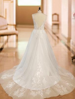Vintage Wedding Dress 2021 A Line V Neck Straps Sleeveless Lace Appliqued Tulle Bridal Gown_6