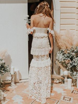 Boho Wedding Dress 2021 Off The Shoulder Floor Length Multilayer Lace Wedding Gowns_4