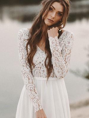Cheap Wedding Dresses A Line V Neck Long Sleeve Floor Length Chiffon Lace Beach Wedding Dresses_4