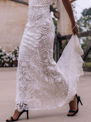 Boho Wedding Gowns 2021 Sheath High Neck Sleeveless Floor Length Bridal Gown_6