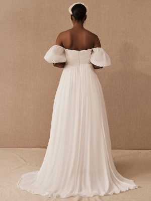 White Vintage Wedding Dress A-Line Off The Shoulder Chiffon Strapless Long Bridal Gowns_4