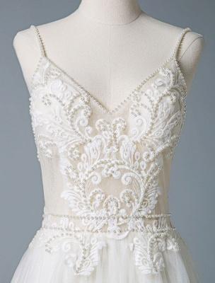 Wedding Gowns A Line V Neck Sleeveless Straps Beaded Floor Length Polka Dot Tulle Bridal Gowns_7