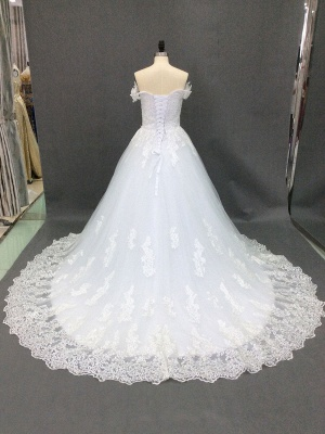 Wedding Dresses 2021 Off The Shoulder Ball Gown Short Sleeve Natural Waist Bridal Gowns With Train_5