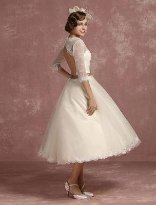 Vintage Wedding Dress Short Lace Tulle Bridal Dress Half Sleeve V Neck Backless A Line Flower Sash Tea Length Bridal Gown Exclusive_3