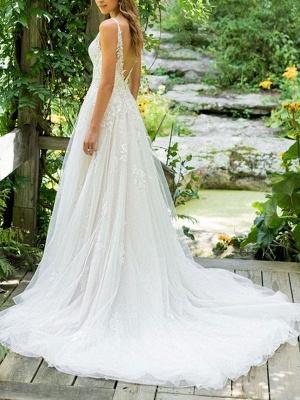Cheap Wedding Dresses 2021 A Line V Neck Sleeveless Floor Length Beach Bridal Gowns With Train_2