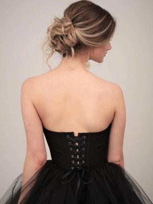 Black Wedding Gownses A-Line Strapless Pleated Taffeta Tulle Chapel Train Wedding Dresses_3