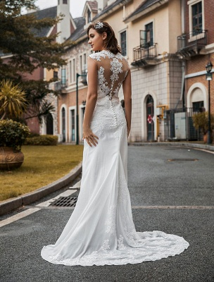 Wedding Bridal Gowns Jewel Neck Sleeveless Natural Waist Buttons Court Train Bridal Gowns Exclusive_2