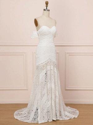 White Lace Wedding Gowns Floor Length Sheath Sleeveless Lace Sweetheart Neck Wedding Dresseses Train Dress_7