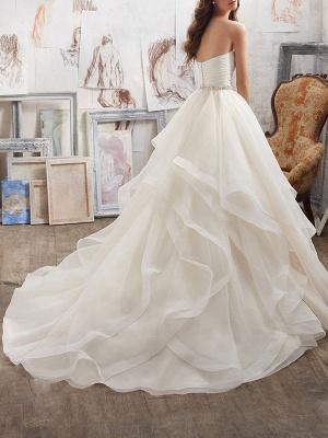 Bridal Dresses 2021 Ball Gown Sweet Heart Sleeveless Floor Length Asymmetry Hem Tulle Bridal Gown_2