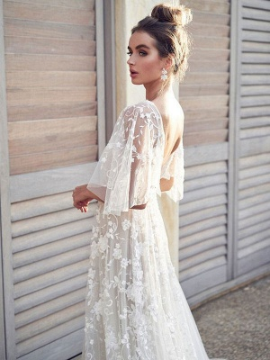 White Lace Wedding Dresses V Neck A-Line Wedding Dresses Short Sleeves Backless Bridal Gowns_2