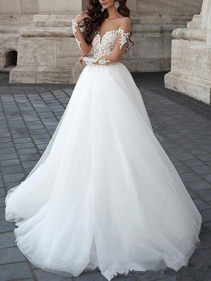 Princess Wedding Dresses 2021 Ball Gown Sweetheart Neck Long Sleeves Backless Lace Tulle Bridal Gowns With Court Train_2