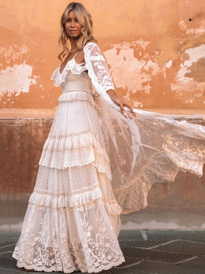 Boho Wedding Dresses Suit 2021 V Neck Floor Length Lace Multilayer Bridal Gown Dress And Outfit_4