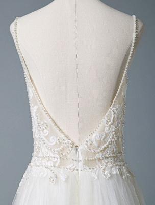 Wedding Gowns A Line V Neck Sleeveless Straps Beaded Floor Length Polka Dot Tulle Bridal Gowns_8
