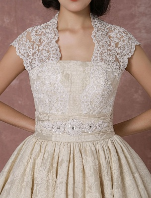 Short Wedding Dress Lace Champagne Vintage Bridal Dress Ball Gown Beading Backless Tea-Length Bridal Gown With Sash Exclusive_9