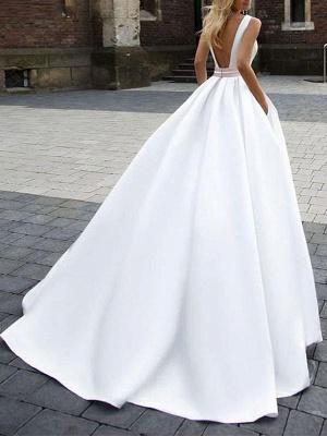 Cheap Wedding Dress Satin Fabric Square Neck Sleeveless Sash A Line Wedding Gowns_2
