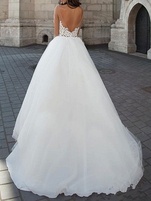 Princess Wedding Dresses 2021 Ball Gown Sweetheart Neck Long Sleeves Backless Lace Tulle Bridal Gowns With Court Train_3
