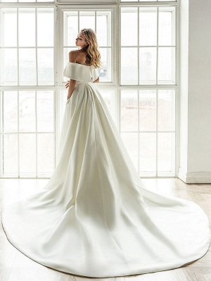 White Vintage Wedding Dresses With Train Satin Off The Shoulder Wedding Dresses Pleated Mermaid Bridal Gowns_3