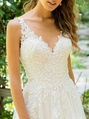 Cheap Wedding Dresses 2021 A Line V Neck Sleeveless Floor Length Beach Bridal Gowns With Train_3