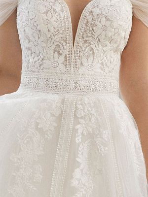 Wedding Dresses With Train V Neck Sleeveless Off Shoulder Lace Tulle Bridal Gowns_3