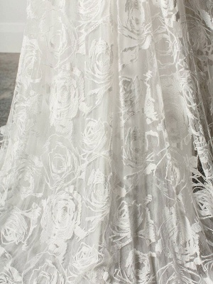 Beach Wedding Dress With Chapel Train White V-Neck Sleeveless Backless Lace Split Long Bridal Gowns_8