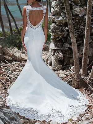 Wedding Dresses 2021 Mermaid Lace Jewel Neck Sleeveless Back Hollow Out Bridal Gowns With Train_1