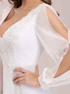 White Cheap Wedding Dress A-Line V-Neck Long Sleeves Natural Waist Chiffon Long Bridal Dresses_6