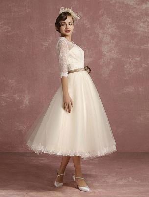 Vintage Wedding Dress Short Lace Tulle Bridal Dress Half Sleeve V Neck Backless A Line Flower Sash Tea Length Bridal Gown Exclusive_7