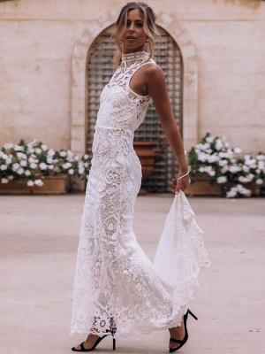Boho Wedding Gowns 2021 Sheath High Neck Sleeveless Floor Length Bridal Gown_2