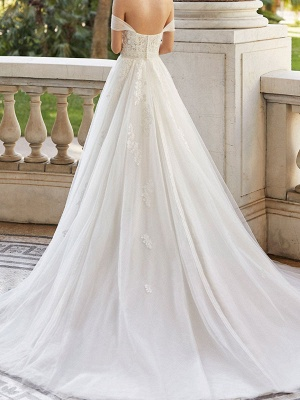 Wedding Dresses With Train V Neck Sleeveless Off Shoulder Lace Tulle Bridal Gowns_2