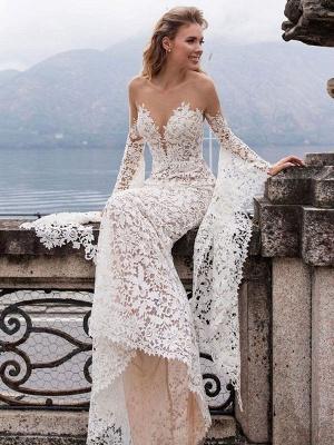Lace Wedding Dress Mermaid Wedding Dress V Neck Long Sleeve Sexy Bridal Gowns_3