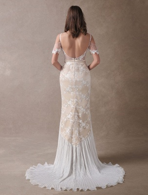 Boho Bridal Dresses Champagne Lace Beach Bridal Dress Mermaid V Neck Backless Beaded Summer Wedding Gowns Exclusive_6