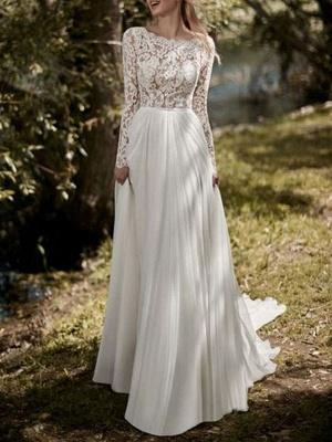 Boho Bridal Dresses 2021 Jewel Neck Long Sleeve A Line Floor Length Chffion Bridal Dress For Beach Wedding_1