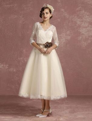 Vintage Wedding Dress Short Lace Tulle Bridal Dress Half Sleeve V Neck Backless A Line Flower Sash Tea Length Bridal Gown Exclusive_2