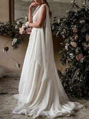 Boho Bridal Dresses 2021 Chiffon V Neck High Waist Roman Drapery Sleeve Bridal Gown_2