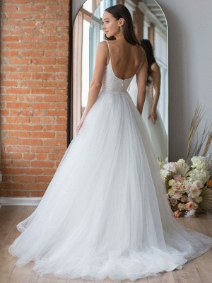 White Wedding Dress Designed Neckline Sleeveless Backless Zipper Tiered With Train Tulle Long Wedding Gowns_4